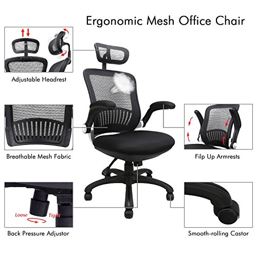 Office Chairs, Komene Ergonomic Mesh Desk Chairs High Back Computer Task Chairs with Adjustable Backrest, Headrest, Armrest and Seat Height for Conference Room by Komene (Image #4)