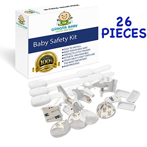 GÜAGÜA BABY - Child Safety Cabinet Lock Set of 26 Pieces- Baby Safety Set with 10 Drawer Lock- 4 Cabinet Locks -12 Corner Protector- with Super Strong 3M Adhesive- Baby proofing