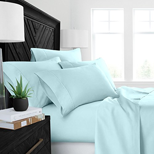 Sleep Restoration Luxury Bed Sheets with All-Natural Pure Aloe Vera Treatment - Eco-Friendly, Hypoallergenic 4-Piece Sheet Set Infused with Soothing/Moisturizing Aloe Vera - King - Aqua Aqua Sheet Set