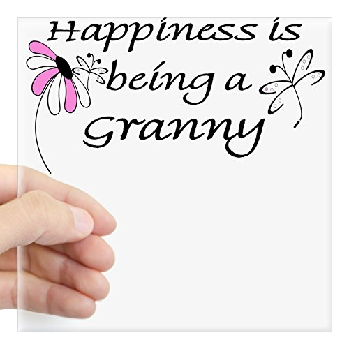 CafePress Happiness is Being a Granny Square Sticker Square Bumper Sticker Car Decal, 3