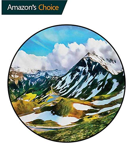 RUGSMAT Mountain Computer Chair Floor Mat,Watercolor Artwork Print of A Mountain Range Peaks Covered with Snow and Clouds Printed Round Carpet for Children Bedroom Play Tent,Round-39 Inch