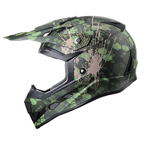 GLX Youth & Kids Off Road Motocross ATV Dirt Bike Helmet Camouflage Green DOT Approved (L)