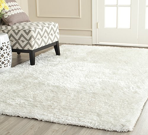 Safavieh South Beach Collection SBS562A Handmade Snow White Polyester Square Area Rug (6' Square)