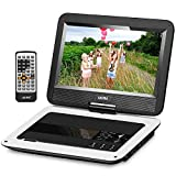 UEME Portable DVD CD Player with 10.1 Inch LCD Screen, Canvas Headrest case, Remote Control, Wall Charger Car Charger, Personal DVD Players with Built-in Rechargeable Battery PD-1010 (White)