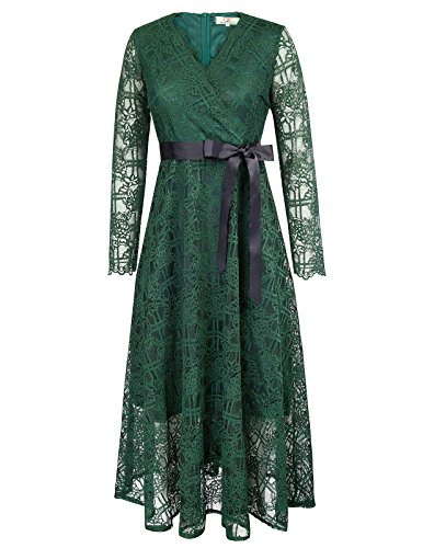 Full Figure Cocktail Dresses (Women Long Sleeve Autumn Lace Long Dress with Bow Tie Size S Dark Green)