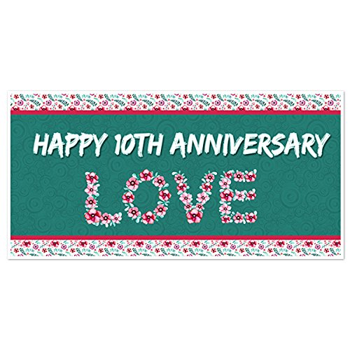 Love 10th Wedding Anniversary Banner Personalized Party Backdrop Decoration