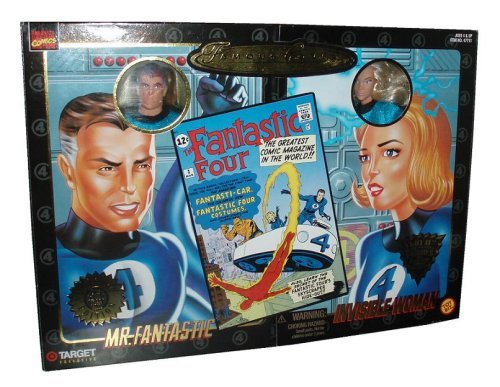 (Marvel Comics 1998 Famous Cover Exclusive 2 Pack Edition 8 Inch Action Figures - Mr. Fantastic and Invisible Woman Ultra Poseable Figure with Authentic Fabric Costume)