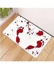 Halloween Decor Bath Mat Bloody Footprint - Bath Mat Changes Color When Wet - Non-Slip Rug Halloween Bathmat Scare Your Friends - Sheet, for Shower/Bathroom Novelty Gag Gift (C)