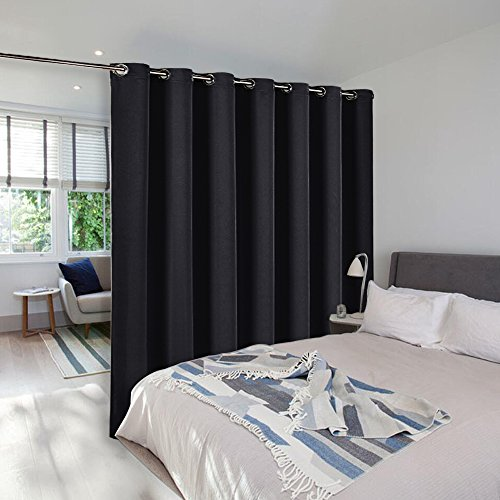 Room Dividers Curtains Screens Partitions - NICETOWN Wide Width Grommet Top Morden Room Divider Curtain Panel, Commercial Room Dividers (1 Pcs, 9ft Tall x 8.3ft Wide,Black) (One Panel Room Divider)