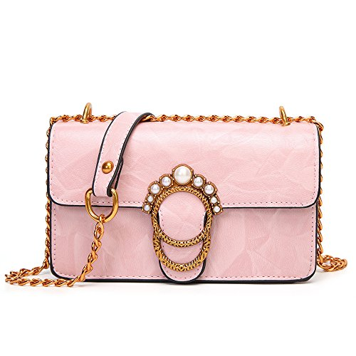 Women Lock Handbag Bag Temperament Spring Fangyou1314 Shoulder Pink Pearl Messenger color Pink wxZXqInBYn