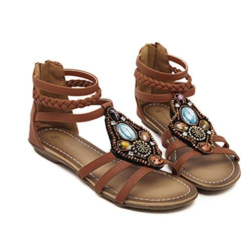 Femmes Sangles Chaussures Plage Zip Sandales Femme Perles Peep Casual Niseng Ouverture toe Marron Plat Bohemia O48wUqxFW