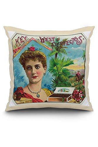 Key West Perfectos Brand Cigar Outer Box Label (20x20 Spun Polyester Pillow, White Border)