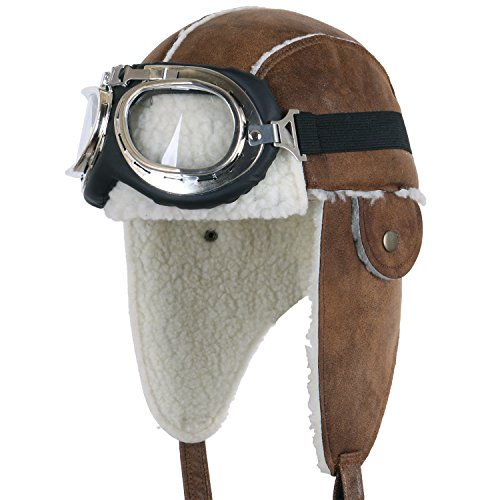 Vintage Aviator Costume (ililily Aviator Hat Winter Snowboard Fur Ear Flaps Trooper Trapper Pilot Goggles , Light Brown/White)