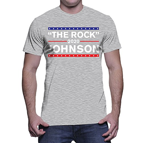 Men's The Rock Johnson For President 2020 T-shirt (Light Gray, Large)