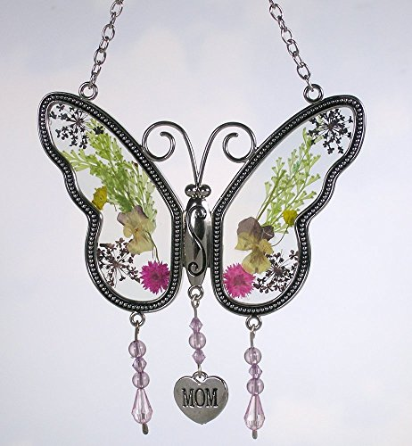 ChuaMi Mom Gifts - Mother Butterfly Mom Suncatcher with Real Pressed Flower in Glass and Silver Metal - Suncatcher Butterfly