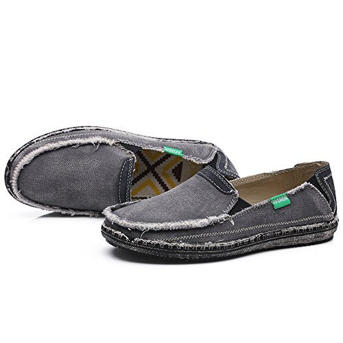 Enllerviid Hombres Slip On Casual Canvas Sneakers Comfort Driving Loafers Moda Barco Zapatos 328 Gris