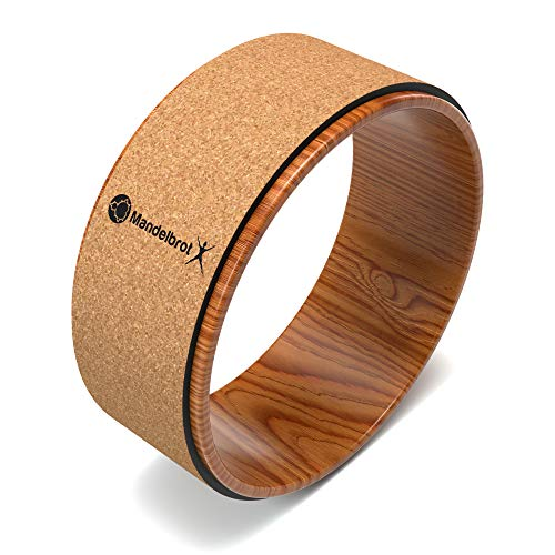 Mandelbrot X Cork Yoga Wheel | Stretching and Back Pain Relief Featuring Heat Activated Non-Slip Cork Backbends, Deepen Stretches, Bodyweight Exercises Large 12.6 in. Diameter by 5.6 in. Width