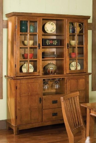 Home Styles 5180-697 Arts and Crafts Buffet and Hutch, Cottage Oak Finish (Buffet Oak Hutch)