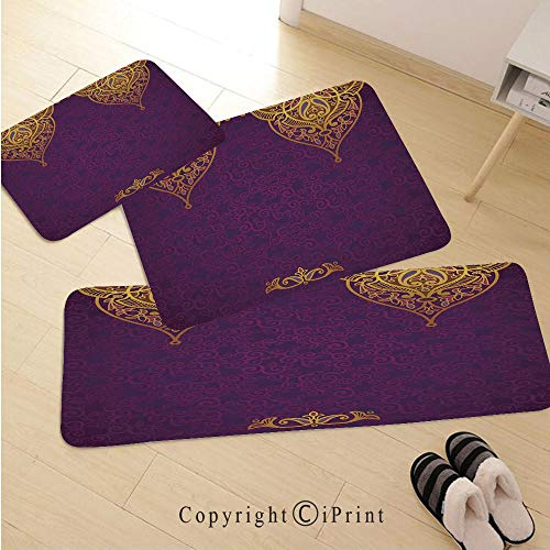 Purple 3D Non-Slip Kitchen Mat Runner Rug Set,3pc Kitchen Rug Set,Eastern Oriental Royal Palace Patterns with Bohemian Style Art Traditional Wedding,for Entryway Kitchen and Bedroom,Purple Gold ()