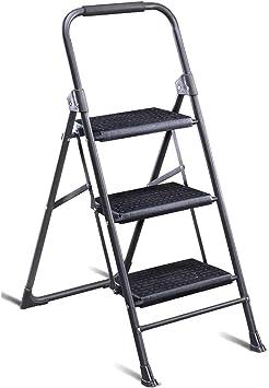 Multifuncional Cuatro pasos de escalera de seguridad, tres pasos de escalera de hierro de doble uso de tijera grande escalera portante cocina/sala de estar escalera estable: Amazon.es: Bricolaje y herramientas