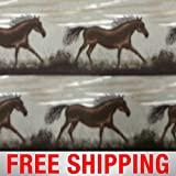 Fleece Fabric Mustang Horse Horses Running 60' Wide Style PT 694