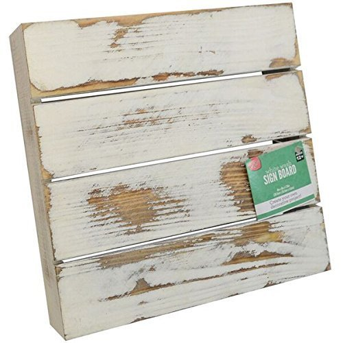 "Lara's Crafts Wash Rustic Slat Wood Sign Board, 8""L x 8""W, White"