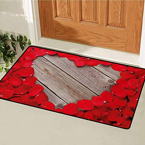 (GUUVOR Rose Inlet Outdoor Door mat Valentines Rose Petals on Wood Planks Forming a Heart Shape Romance Love Passion Catch dust Snow and mud W23.6 x L35.4 Inch Vermilion Cocoa )