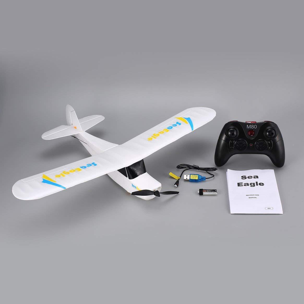 Delicacydex Mirabrobot Seaeagle 2.4Ghz 3CH Mini 3/6-Achsen-Fernbedienung RC Flugzeug Fixed Wing Drone Flugzeug mit Spannweite 510mm RTF - Weiß