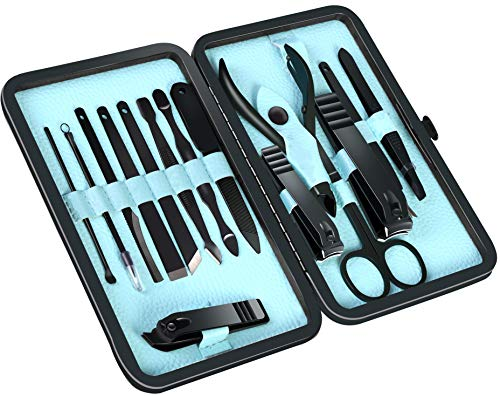 Professional Manicure Pedicure Set Nail Clippers Kit - Stainless Steel 15 in 1 Portable Travel Grooming Kit - Facial