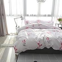 LELVA Pink Cactus Print Bedding 4 Piece Duvet Cover Set Teen Girls Bedding Bed Set (Full, Fitted Sheet Set)
