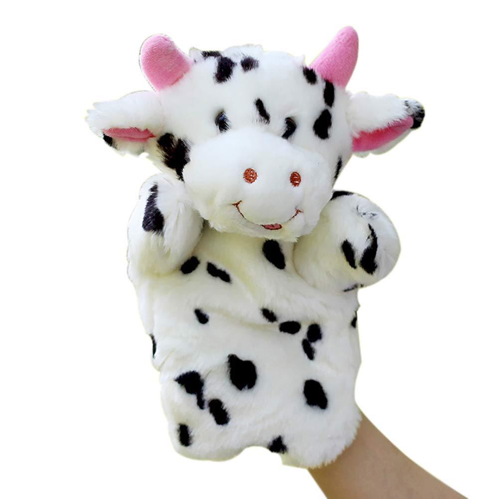 Naisicatar 1pc Fingerpuppen Fingerpuppen Tier Cloth Baby-pädagogische Hand Geschichte Plüsch Story Telling Spielzeug Kuh Handpuppe Nizza Geschenk