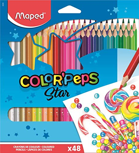 Maped Color'Peps Triangular Colored Pencils, Assorted Colors, Pack of 48 (832048ZV) (Maped Color Peps)