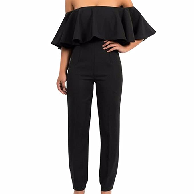 b56deb5762f2 Sexyshine Women s Sexy Off Shoulder Strapless Ruffle Bodycon Long Jumpsuit  Rompers (BL ...