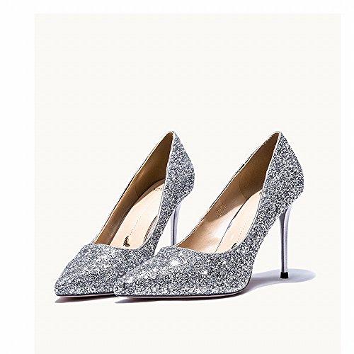 do con Occidentales Zapatos con Lentejuelas de de de Tacones Zapatos Femenina Zapatos Salvaje Primavera Altos SHOEES Novia Banquete Altos XxwR7UOn1q