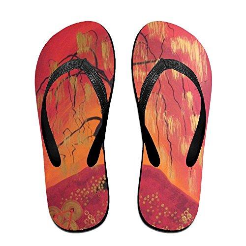 Kids Men Women Black Oil Painting PTJHKET Slippers Flops Flip for PqY08ZS