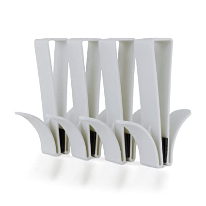 SL Ideas - Gancho de Ducha para Puerta, 4 Unidades, Color Blanco, Toallas