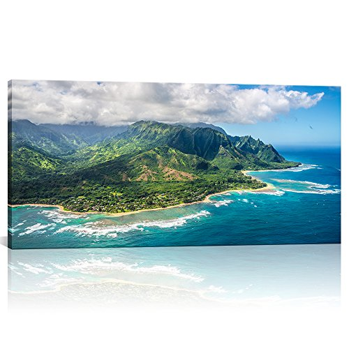 Large Wall Art Aerial View on Napali Coast of Kauai Island USA Hawaii Landscape Prints Picture Modern Home Decor Framed for Living Room Ready to Hang 24