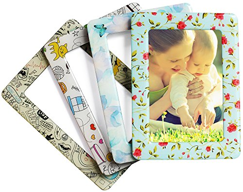 Merkapa Crystal Magnetic Photo Picture Frames and Refrigerator Magnets, Pocket Frame, Holds 4 x 6 Inches Photos, 4 Pack (Classic Color) by Merkapa