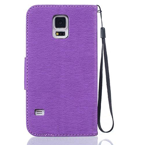 Ukayfe Flip funda de cuero PU para Samsung Galaxy S5, Leather Wallet Case Cover Skin Shell Carcasa Funda para Samsung Galaxy S5 con Pintado Patrón Diseño, Cubierta de la caja Funda protectora de cuero Bird Feather:Purple