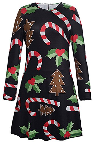 Herose Ladies Cozy Holly Berry Candy Canes Printed Flared Mini Dress Tops XL -