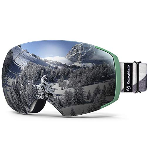 OutdoorMaster Ski Goggles PRO - Frameless, Interchangeable Lens 100% UV400 Protection Snow Goggles for Men & Women (Camo Frame VLT 10% Grey Lens and Free Protective Case)