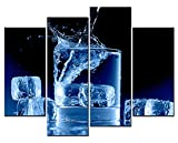 SmartWallArt - Wine Paintings Wall Art Ice and Whisky 4 Panel Picture Print on Canvas for Modern Home Decoration