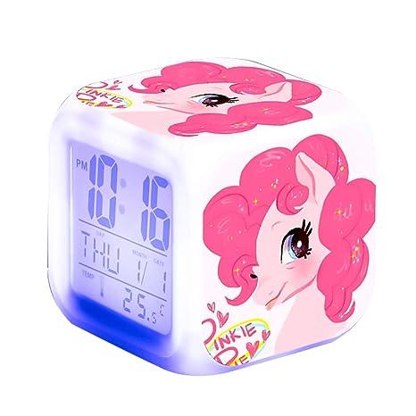 Unicornio Relojes de alarma digitales para niñas, LED de noche Reloj LCD con luz para niños Despertar Reloj de cabecera Regalos de cumpleaños para ...
