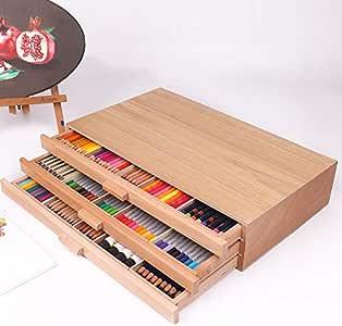 Caja de madera DIER para cajones – para lápices, cepillos, suministros de artistas, etc. – Burlywood 3 cajones suministros de arte caja de madera caja de almacenamiento de pinturas de pecho caja