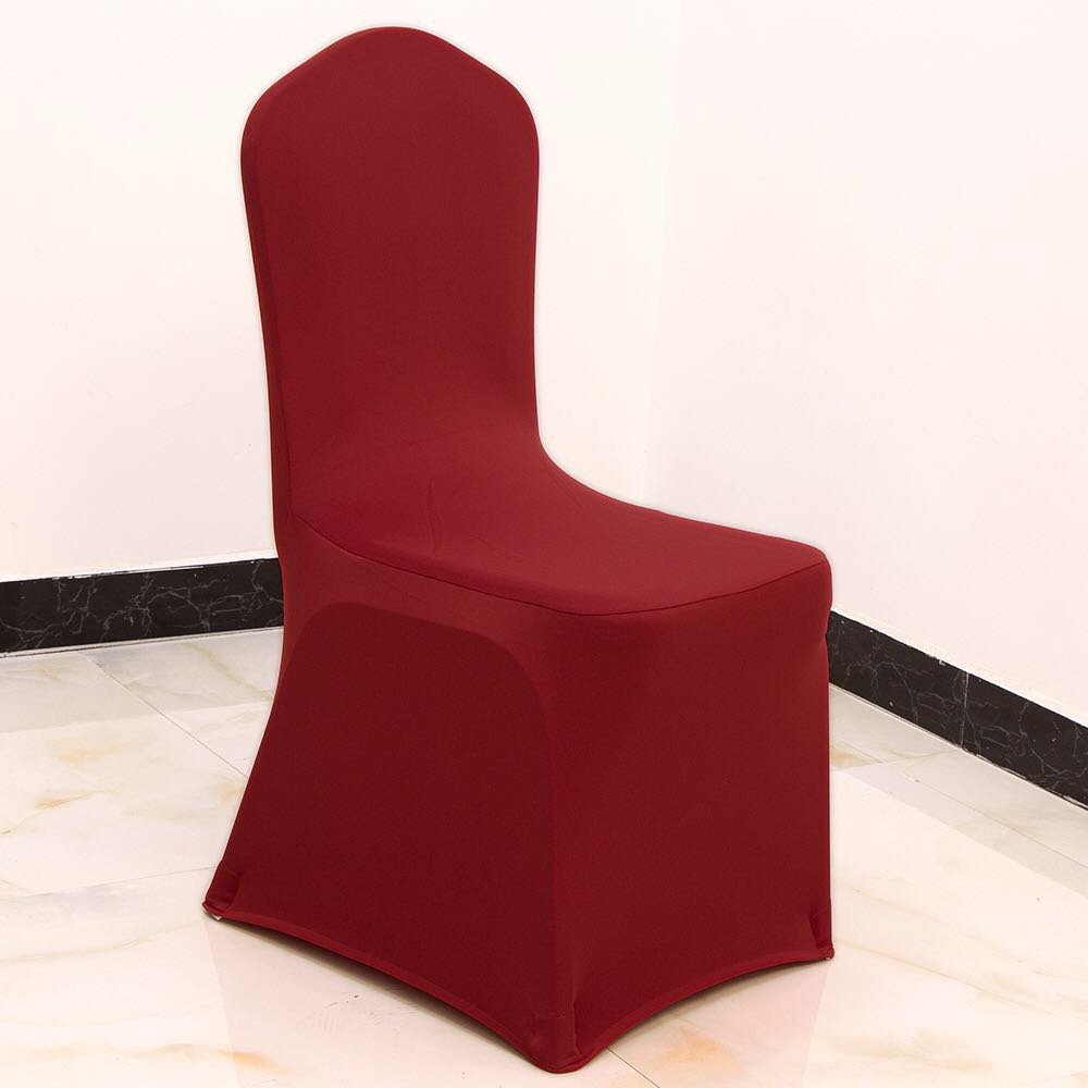 GFCC Set of 50pcs Burgundy Color Spandex Chair Covers,Wedding,Party,Banquet,Christmas Chair Seat Covers by GFCC