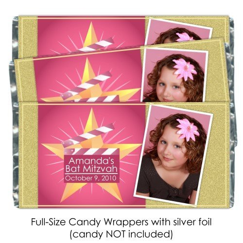 - 25 Bat Mitzvah Candy Wrappers, Custom Hollywood Mitzvah Birthday candy bar wrappers