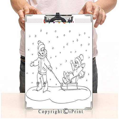 A4 File Folders Standard Size Clipboards CartoonPrint Clipboards Office Document,Coloring Book or Page Boy and Girl with sled