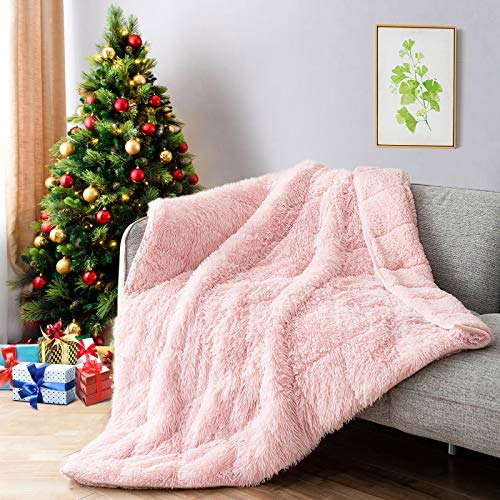 Lofus Faux Fur Weighted Blanket 15lbs,Snuggly Luxury Shaggy Longfur Heavy Blanket, Warm Elegant Cozy Plush Sherpa Microfiber Furry Blanket for Couch Sofa Chair Home Decor, 48