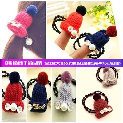 South Korean small wool hat knitted hat headband hair band rope pearl water drill Shengpi tendons hair jewelry stall supply for women girl lady (Wool Drill Hat)