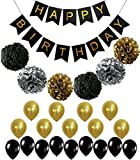 Perfect Black and Gold Decoration Set, Happy Birthday Banner, Fluffy Pom ...